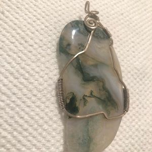 Jewelry - Sterling wire wrapped agate pendant 💎